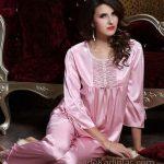 Saten Pijama Takımları Pembe Yetim Kol İp Bağcıklı Yuvarlak Yaka