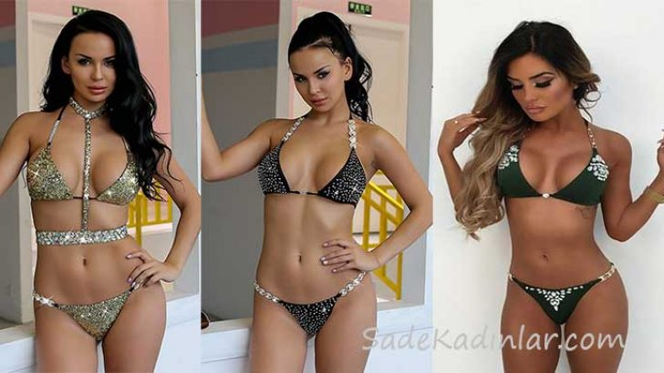 Bikini Modelleri Havuz Partilerinin Göz Alıcı Taşlı Bikinileri