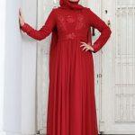 2019 Tesettür Abiye Modelleri Kırmızı Uzun Kloş Tül Etek Boncuk İşlemeli