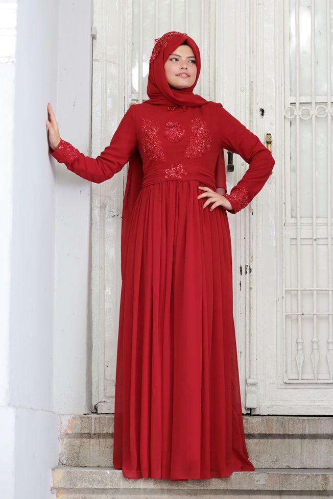 2021 Tesettür Abiye Modelleri Kırmızı Uzun Kloş Tül Etek Boncuk İşlemeli