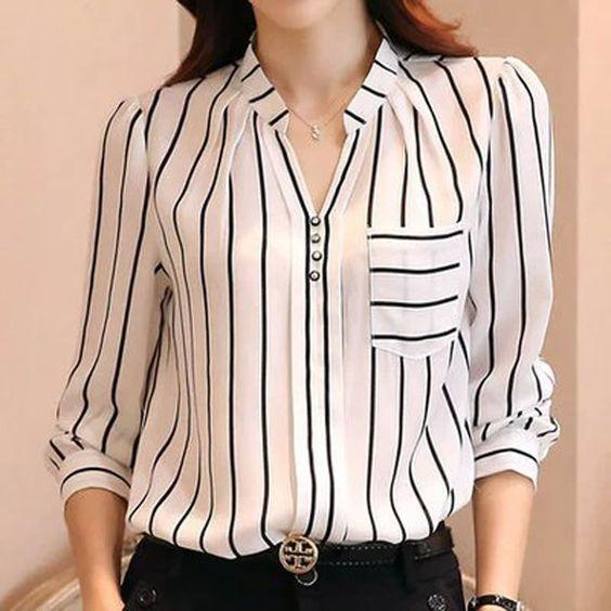 Bayanlar İçin Yazlık Şifon Gömlek Modelleri Beyaz Uzun Kollu V Yakalı Düğmeli Çizgi Desenli