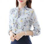Şifon Gömlek Modelleri Gri Uzun Kollu Yakası Bağcıklı Çiçek Desenli