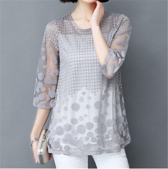 Bayanlar İçin Yazlık Şifon Gömlek Modelleri Gri Yetim Kol Geometrik Desenli