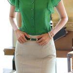 Şifon Gömlek Modelleri Yeşil V Yakalı Kısa Fırfırlı Kol Düğmeli
