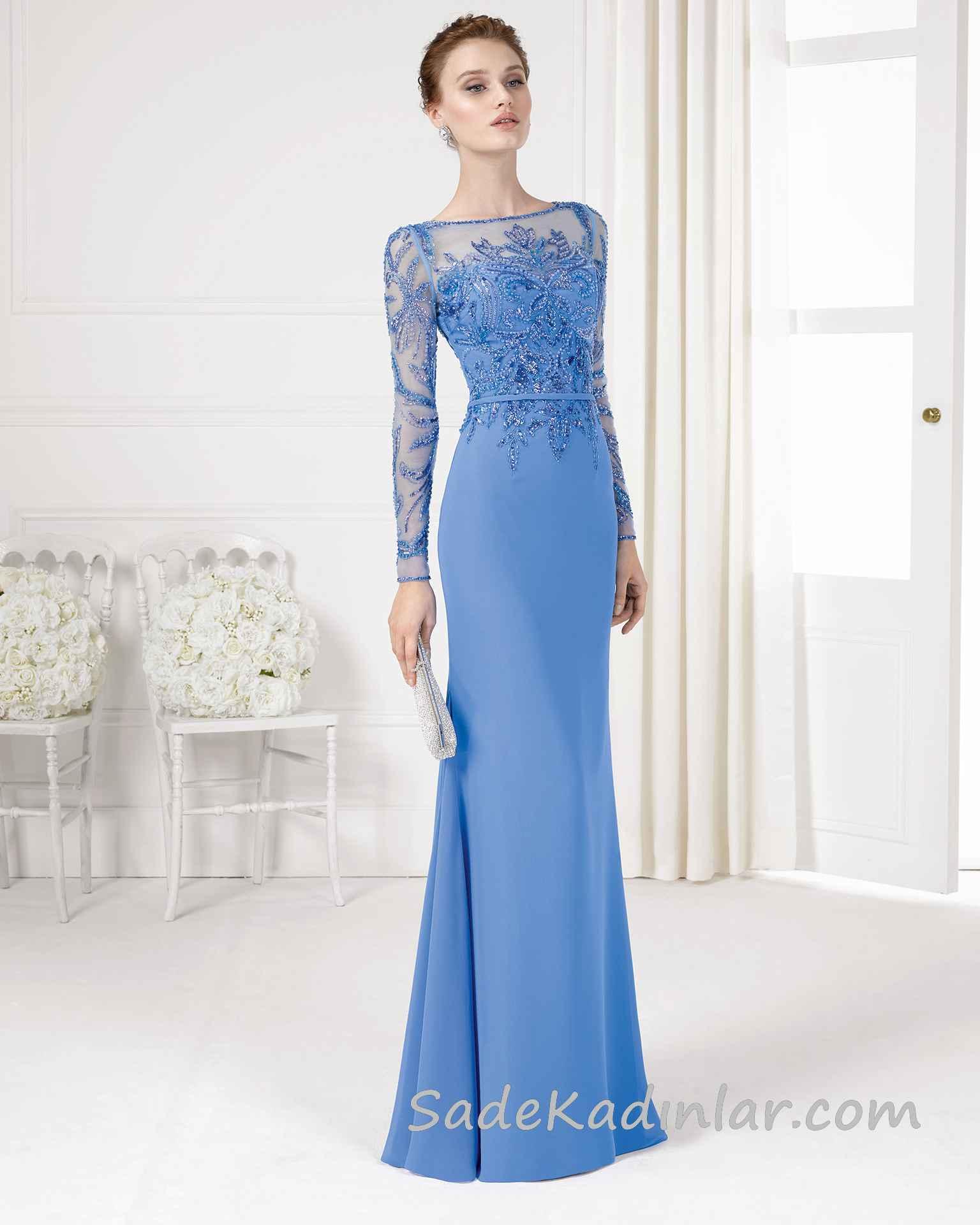 2020 Sik Abiye Modelleri Mavi Uzun Kayik Yaka Uzun Kollu Islemeli Kiyafet Kombinleri