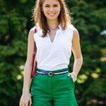Şort Modelleri Yeşil Kısa Fırfırlı Cepli Kemerli