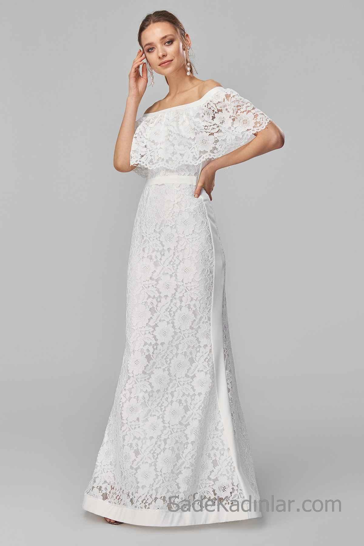 2020 Uzun Abiye Modelleri Beyaz Uzun Omzu Açık Düşük Kol Güpür