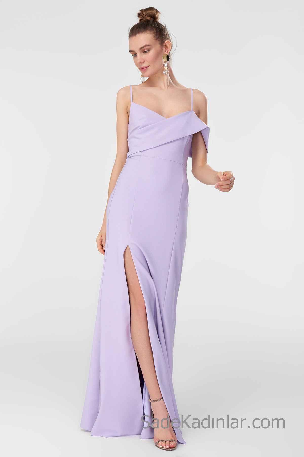 2020 Uzun Abiye Modelleri Lila Uzun İp Askılı Önden Yırtmaçlı