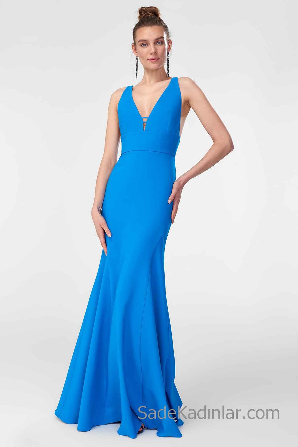 2020 Uzun Abiye Modelleri Mavi uzun Kalın Askılı V Yakalı