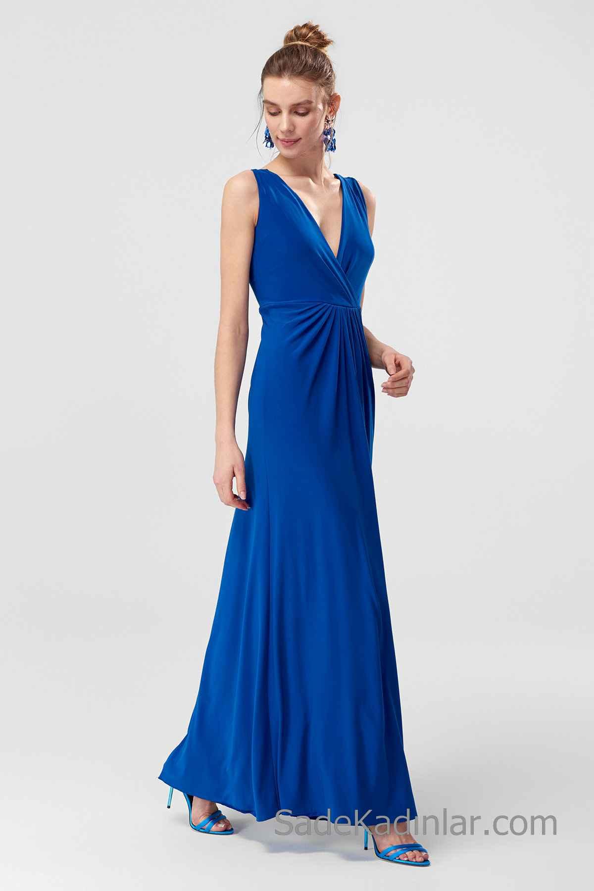 2020 Uzun Abiye Modelleri Saks Mavi Uzun Askılı V YAkalı Büzgülü