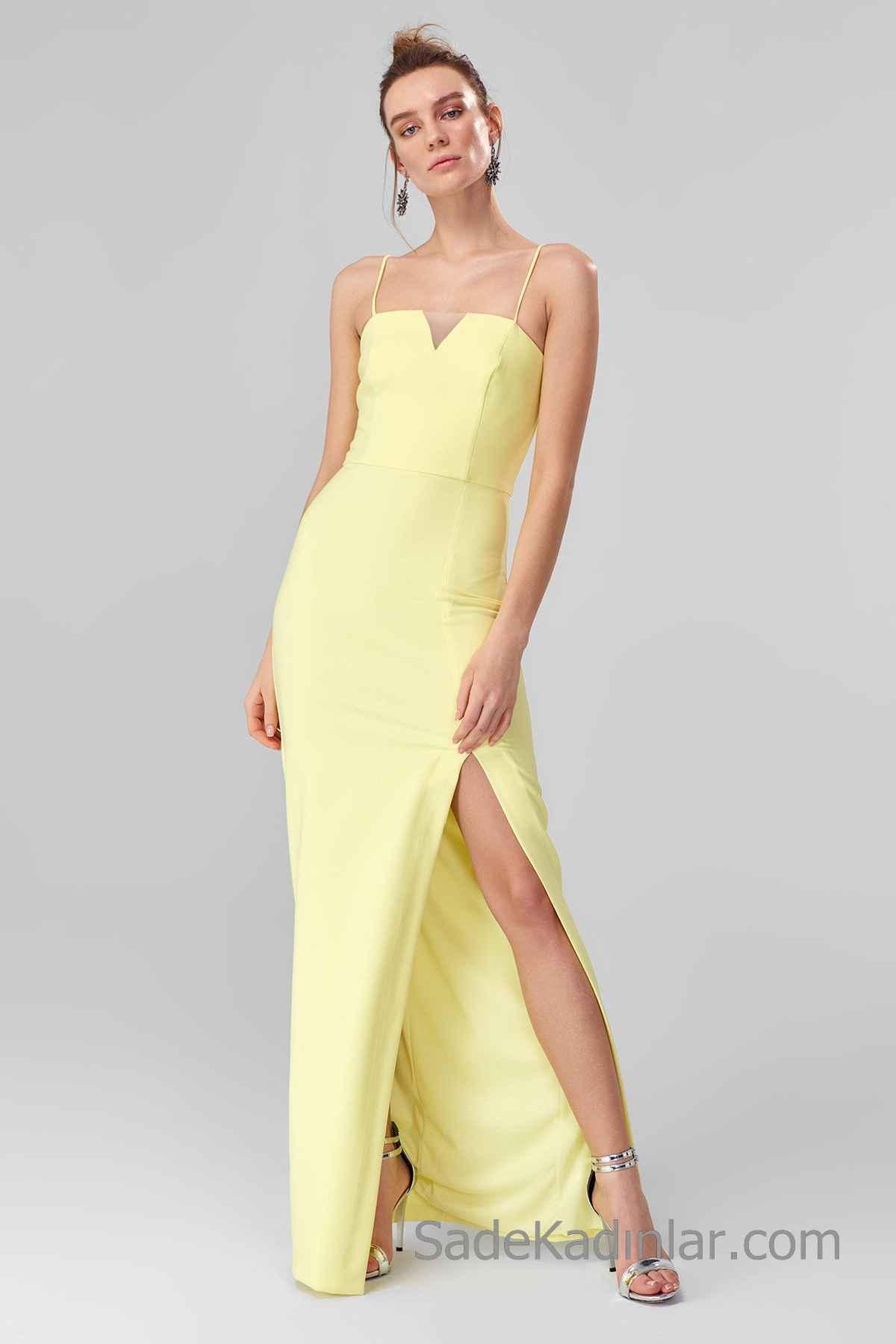 2020 Uzun Abiye Modelleri Sarı uzun İp Askılı Önden Yırtmaç Detaylı