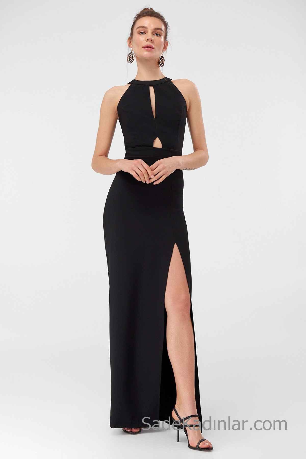 2020 Uzun Abiye Modelleri Siyah Uzun Halter Yaka Dekolteli Önden Yırtmaçlı