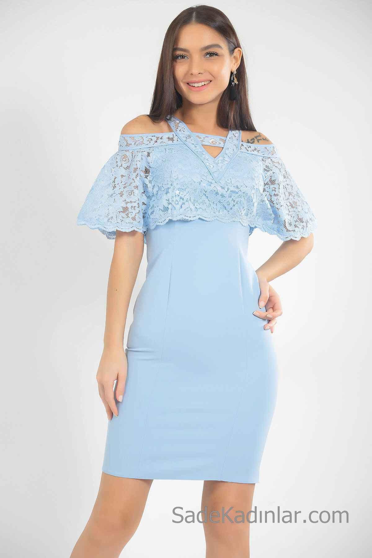 Açık Mavi Kısa Elbiseler 2019
