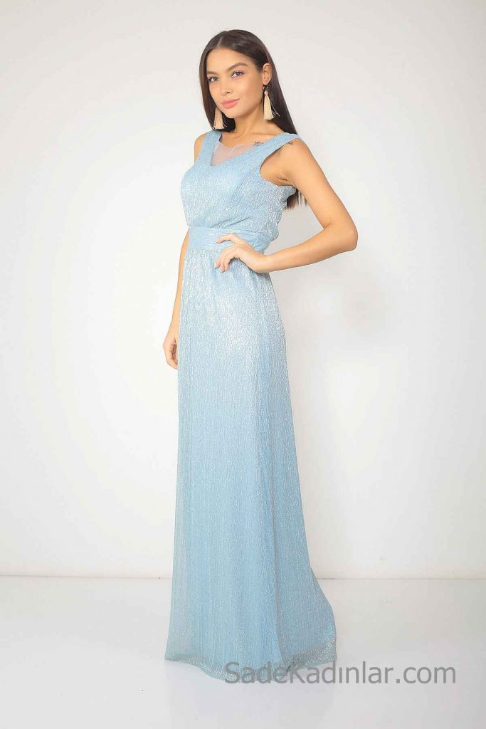 2019 Bebe Mavisi Elbise Modelleri Uzun Kolsuz V Yaka Simli Kumaş