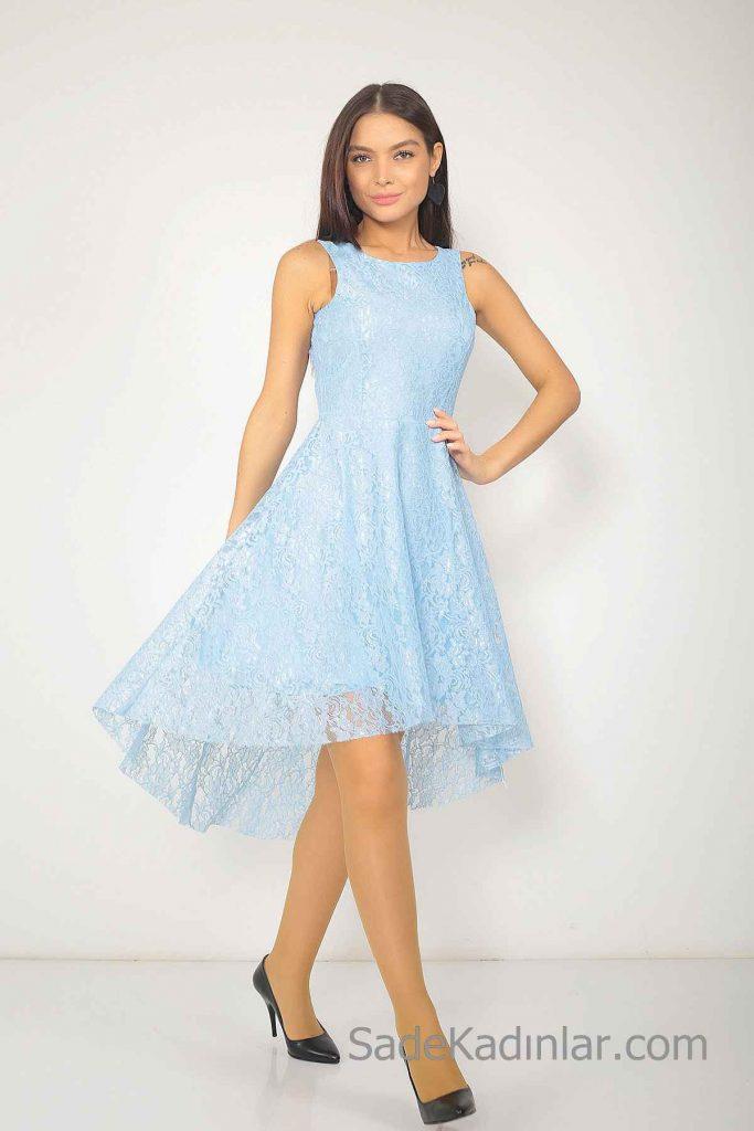 2019 Bebe Mavisi Elbise Modelleri Önü Kısa Arkası Uzun Kolsuz Dantel
