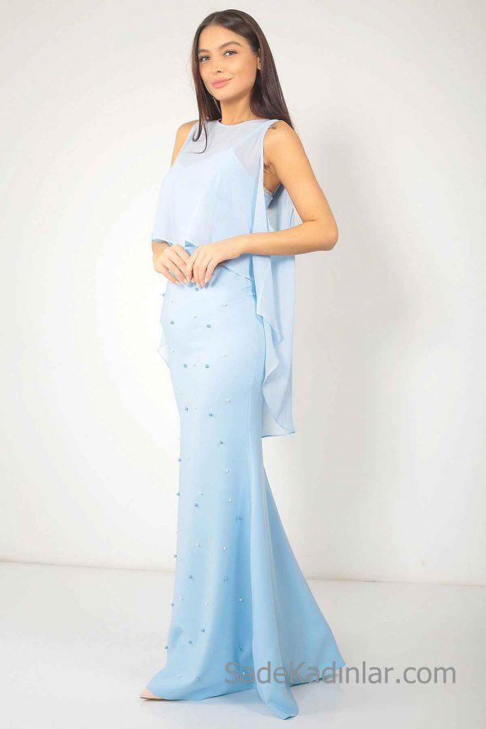 Bebe Mavisi Elbise Modelleri uzun Kolsuz Tül Pelerin Detaylı İncili