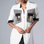 2020 Beyaz Gömlek Modelleri Uzun Kol Önden Düğmeli Payetli Cep Detaylı