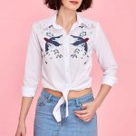 2020 Beyaz Gömlek Modelleri Önden Düğmeli Yetim Kol Nakış İşlemeli Kısa