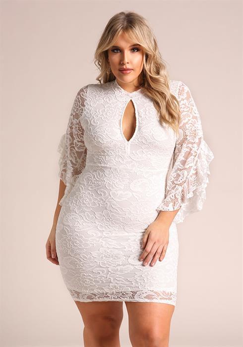 2019 Büyük Beden Yazlık Elbise Modelleri Beyaz Kısa Uzun Kollu Yaka Yırtmaçlı Fırfırlı Dantel