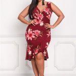 2020 Büyük Beden Yazlık Elbise Modelleri Kırmızı Kısa Kalın Askılı V Yakalı Desenli