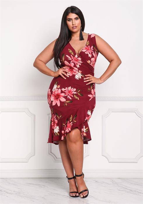 2019 Büyük Beden Yazlık Elbise Modelleri Kırmızı Kısa Kalın Askılı V Yakalı Desenli