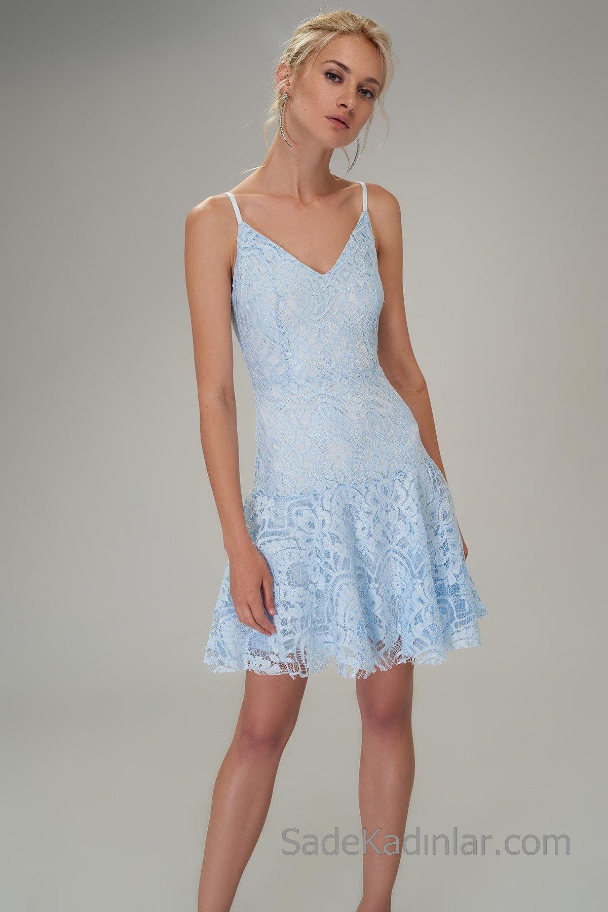 Dantel Elbise Modelleri Bebek Mavisi Kısa İp Askılı V Yakalı