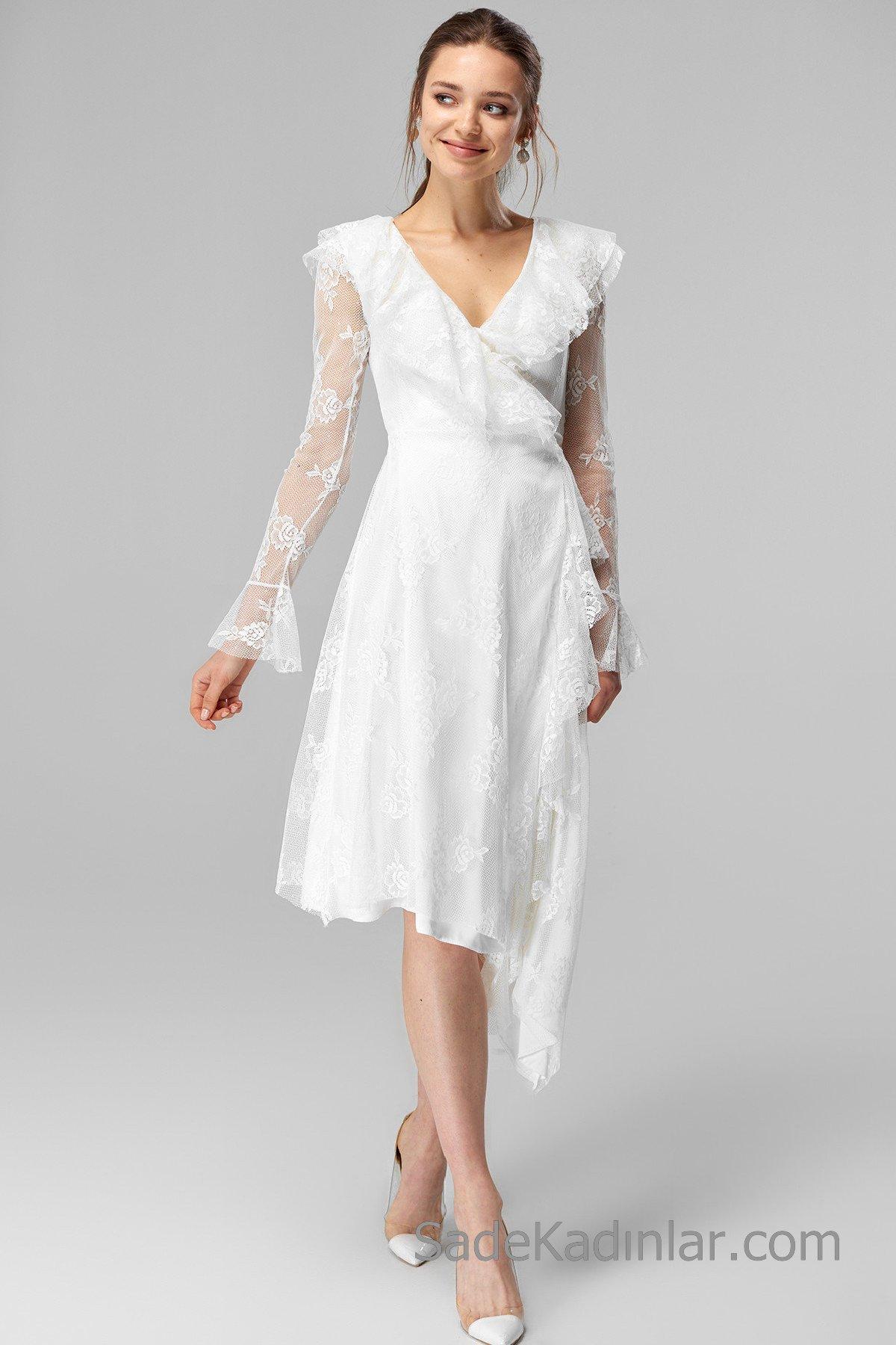 Dantel Elbise Modelleri Beyaz Midi V YAkalı Uzun Kol