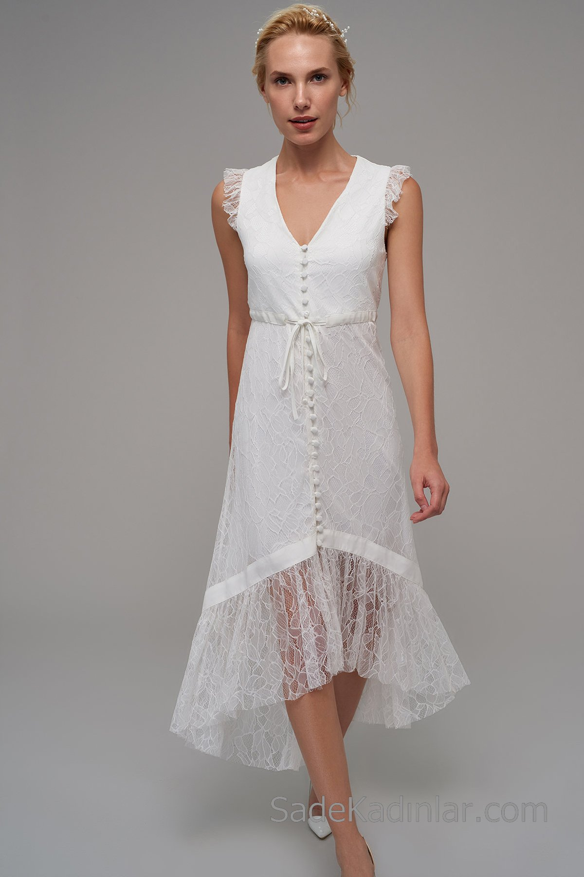 Dantel Elbise Modelleri Beyaz Uzun Kolsuz V Yakalı Düğmeli