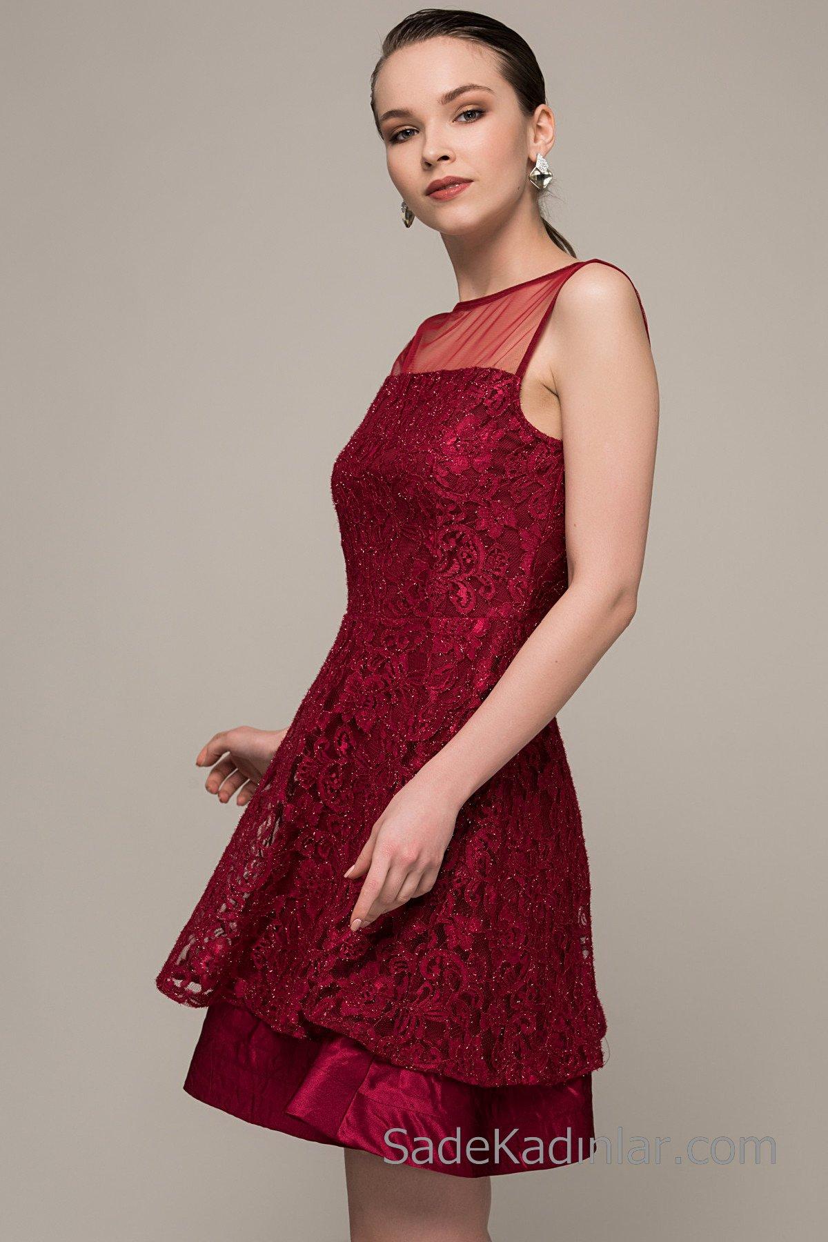 Dantel Elbise Modelleri Bordo Kısa Kolsuz Saten Detaylı