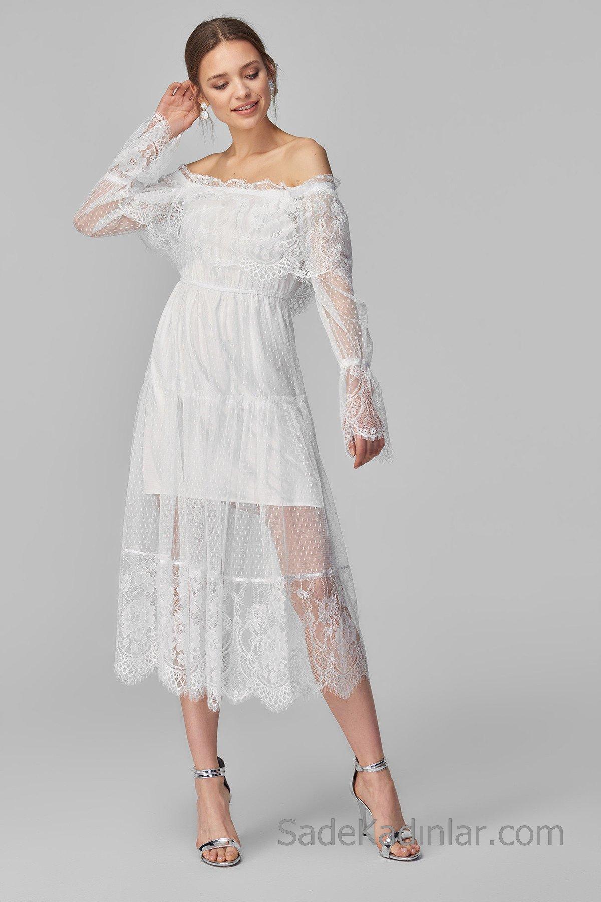 Dantel Elbise Modelleri Ekru uzun KArmen Yaka Uzun Kol