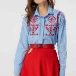 Etek Gömlek Kombinleri Kırmızı Kısa Etek Mavi Uzun Kollu Nakışlı Gömlek