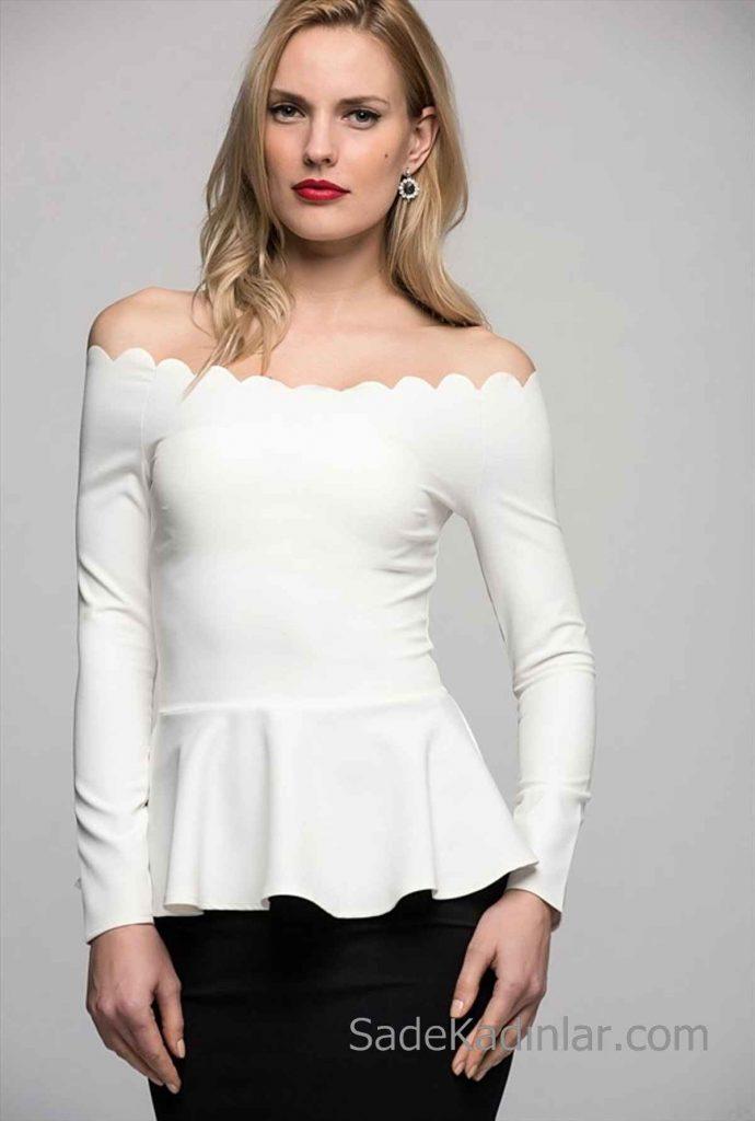 Kayık Yaka Bluz Modelleri Beyaz Uzun Kollu Etek Kısmı Fırfırlı