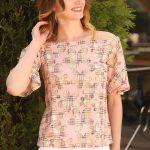 2019 Kayık Yaka Bluz Modelleri Pudra Düşük İspanyol Kol Desenli
