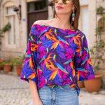 2019 Kayık Yaka Bluz Modelleri Saks Mavi Yetim Kol Desenli