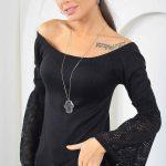 2019 Kayık Yaka Bluz Modelleri Siyah Uzun İspanyol Kol Dantel Detaylı