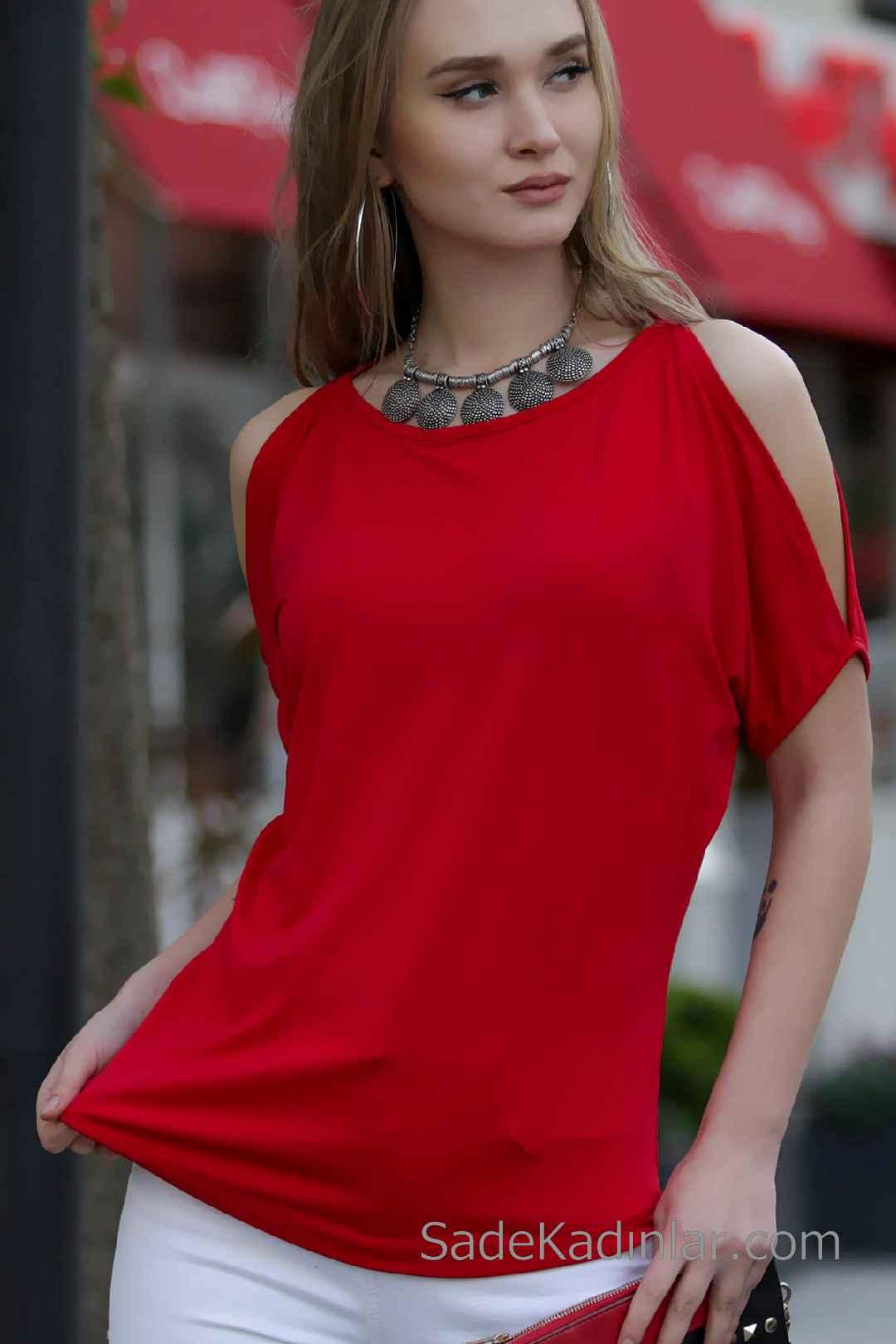 2020 Kırmızı Abiye Bluz Modelleri Kısa Kollu Kayık Yaka Omuz Dekolteli