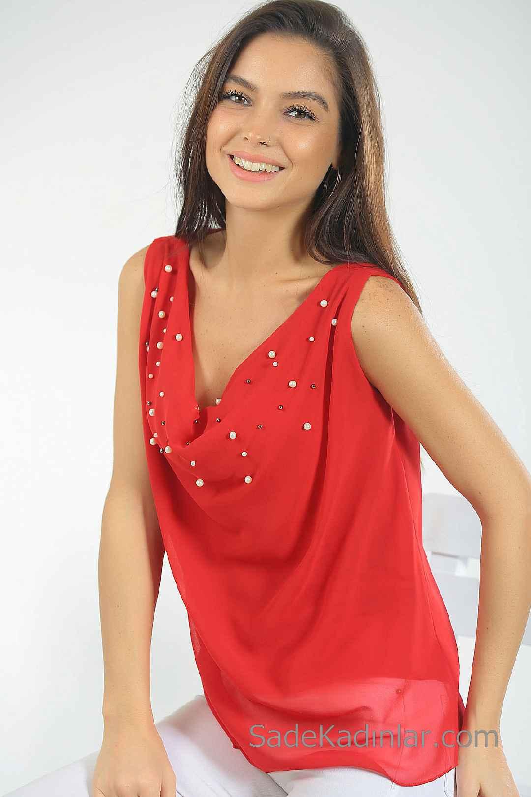 2020 Kırmızı Abiye Bluz Modelleri Kolsuz Degaje Yaka İnci İşlemeli