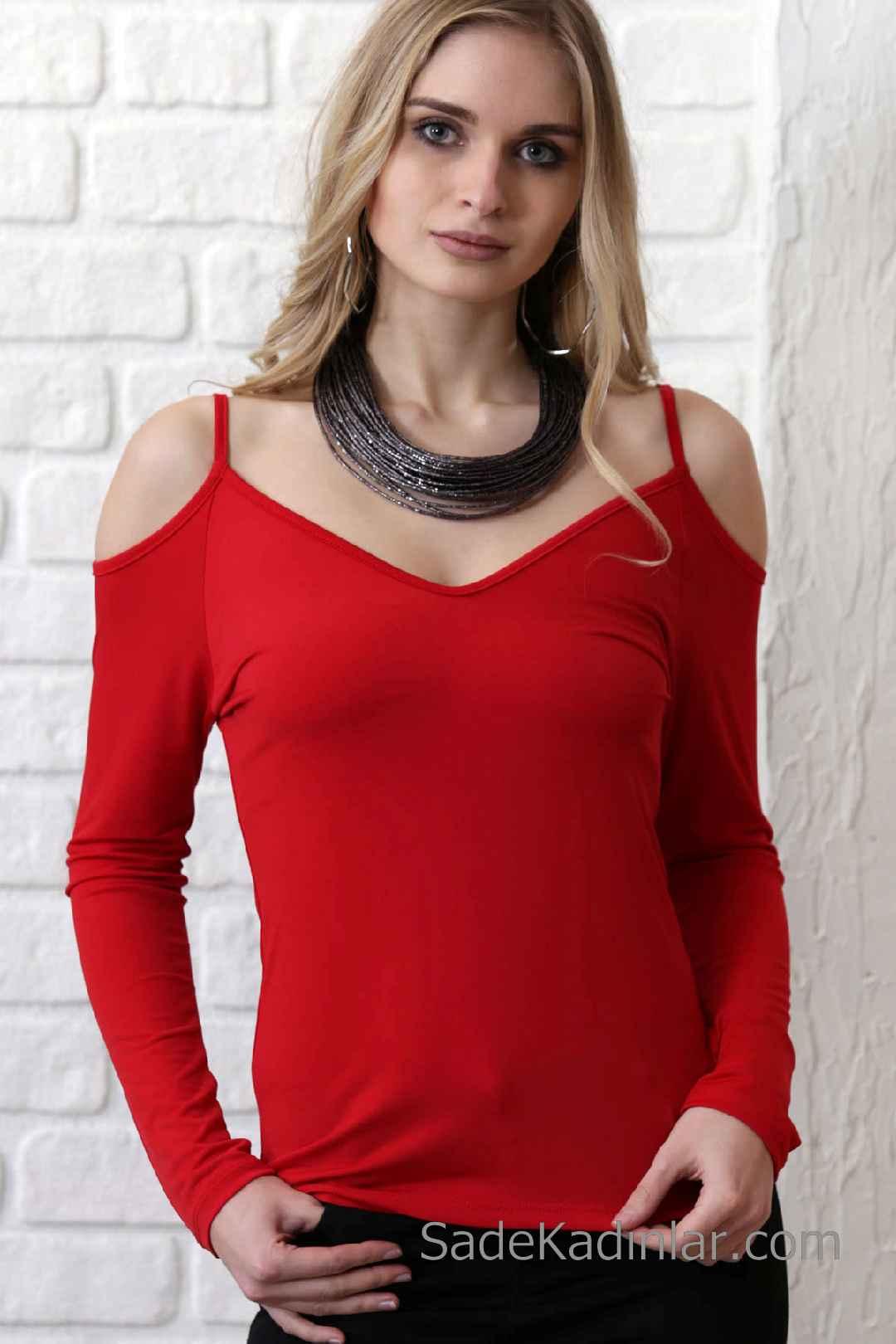 2020 Kırmızı Bluz Modelleri Uzun Kol Askılı Omuzlar Açık