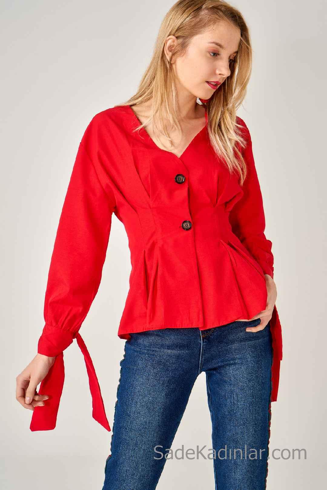 2020 Kırmızı Bluz Modelleri Uzun Kol Bağcıklı V Yakalı Düğmeli