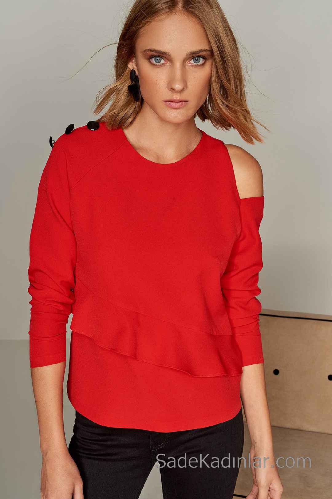 2020 Kırmızı Bluz Modelleri Uzun Kollu Omuz Dekolteli Düğme Aksesuarlı