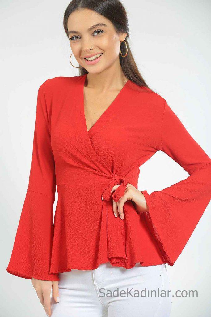 Kırmızı Bluz Modelleri Uzun İspanyol Kollu Kruvaze Yaka Bağlamalı