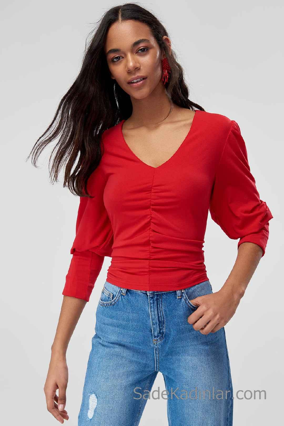 2020 Kırmızı Bluz Modelleri Yetim Kol V Yakalı Büzgülü