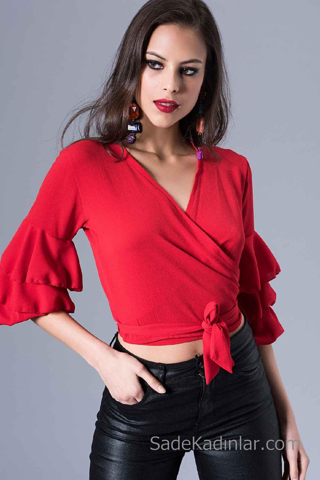 2020 Kırmızı Bluz Modelleri Yetim Kol V Yakalı Fırfır Detaylı