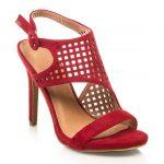 Kırmızı Topuklu Ayakkabı Modelleri Kalın Bantlı Delikli Kafesli Tokalı