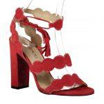 Kırmızı Topuklu Ayakkabı Modelleri Kalın Kıvrımlı Bantlı Bilekten Bağcıklı