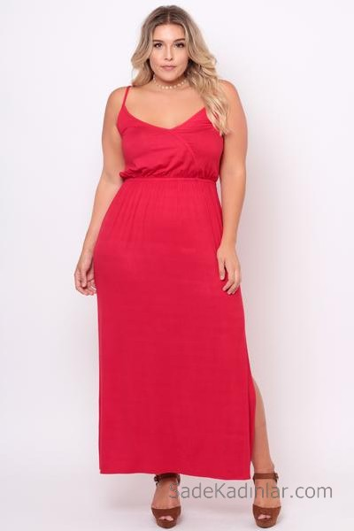 2020 Büyük Beden Abiye ve Gece Elbiseleri Kırmızı Uzun Askılı Geniş V Yakalı Yandan Yırtmaçlı