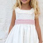 2020 Kız Çocuk Abiye Elbise Ekru Kısa Kolsuz Yuvarlak Katlamalı Yaka Kumaş Kemerli