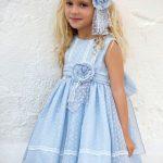 2020 Çocuk Abiye Elbise Mavi Kısa Kolsuz Puantiyeli Kumaş Çiçek Aksesuarlı