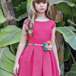 10 Yaş 2020 Kız Çocuk Abiye Elbise Modelleri Fuşya Kısa Kollu Kalın Pileli Etek Yeşil Kumaş Kemerli