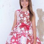 10 Yaş 2020 Kız Çocuk Abiye Elbise Modelleri Kırmızı Kısa Kolsuz Desenli Belinde Kurdela Fiyonklu
